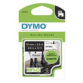 Dymo 16958 19mm x 3.5m Black on White Tape
