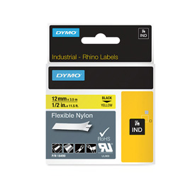 Dymo 18490 12mm x 3.5m Black On Yellow Flexible Nylon Tape