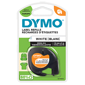 Dymo 18769 12mm x 2m Black on White Iron on Tape