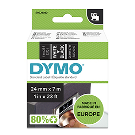 Dymo 53721 24mm x 7m White on Black Tape