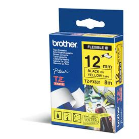 )Brother 12mm BlkOnYel Tape TZEFX631